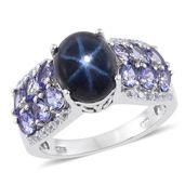 Thai Blue Star Sapphire, Tanzanite, White Topaz Platinum Over Sterling Silver Ring (Size 9.0) TGW 8.970 cts.