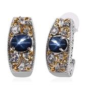Thai Blue Star Sapphire, White Topaz 14K YG and Platinum Over Sterling Silver J-Hoop Earrings TGW 7.880 Cts.