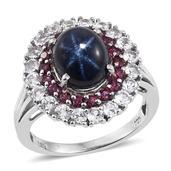 Thai Blue Star Sapphire, Orissa Rhodolite Garnet, White Topaz Platinum Over Sterling Silver Statement Ring (Size 6.0) TGW 8.350 cts.