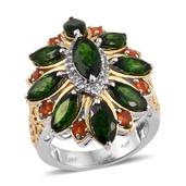 Russian Diopside, Jalisco Fire Opal, White Topaz 14K YG and Platinum Over Sterling Silver Openwork Ring (Size 8.0) TGW 6.640 cts.