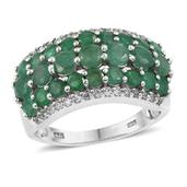 Kagem Zambian Emerald, White Topaz Platinum Over Sterling Silver Ring (Size 7.0) TGW 3.600 cts.