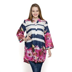 Navy and White Stripe 100% Cotton Tunic with Pink Floral Pattern (Large)