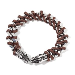 Brown Faux Leather Stainless Steel Men's Braided Dragon Bracelet (9.00 In)