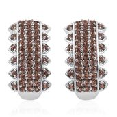 Jenipapo Andalusite Platinum Over Sterling Silver Omega Clip Earrings TGW 3.600 Cts.