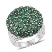 Kagem Zambian Emerald Platinum Over Sterling Silver Round Cluster Ring (Size 8.0) TGW 5.90 cts.