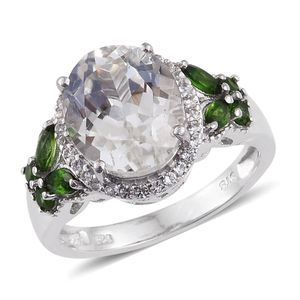 XIA Kunzite, Russian Diopside, White Topaz Platinum Over Sterling Silver Ring (Size 6.0) TGW 7.640 cts.