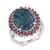 Australian Mosaic Opal, Orissa Rhodolite Garnet Platinum Over Sterling Silver Ring (Size 8.0) TGW 10.23 cts.