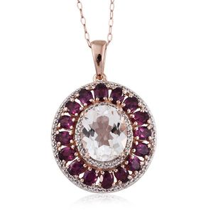 XIA Kunzite, White Topaz 14K RG Over Sterling Silver Pendant With Chain (20 in) TGW 10.300 Cts.