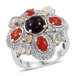 Ethiopian Sable Welo Opal, Mediterrean Coral, White Topaz Platinum Over Sterling Silver Statement Ring (Size 7.0) TGW 5.84 cts.