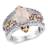 Ethiopian Welo Opal, Multi Gemstone 14K YG and Platinum Over Sterling Silver Ring (Size 8.0) TGW 2.140 cts.