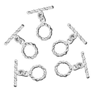 LC DIY Set of 5 Silvertone Twisted Wire Toggle Clasps