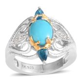 Jewel Studio by Shweta Arizona Sleeping Beauty Turquoise, Malgache Neon Apatite, White Topaz 14K YG and Platinum Over Sterling Silver Ring (Size 7.0) TGW 1.880 cts.