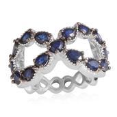 Jewel Studio by Shweta Kanchanaburi Blue Sapphire Platinum Over Sterling Silver Openwork Infinity Ring (Size 8.0) TGW 3.300 cts.