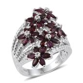 Anthill Garnet, White Topaz Platinum Over Sterling Silver Floral Split Ring (Size 5.0) TGW 4.06 cts.