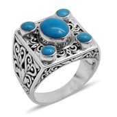 Bali Legacy Collection Arizona Sleeping Beauty Turquoise Sterling Silver Ring (Size 7.0) TGW 3.02 cts.