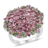 Pink Tourmaline, Russian Diopside 14K YG and Platinum Over Sterling Silver Cluster Ring (Size 9.0) TGW 5.47 cts.