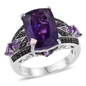 Lusaka Amethyst, Amethyst, Thai Black Spinel Platinum Over Sterling Silver Ring (Size 7.0) TGW 8.190 cts.