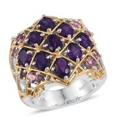 Lusaka Amethyst, Pink Tourmaline 14K YG and Platinum Over Sterling Silver Ring (Size 5.0) TGW 4.930 cts.