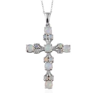Ethiopian Welo Opal Platinum Over Sterling Silver Cross Pendant With Chain (20 in) TGW 3.040 Cts.