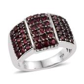 Anthill Garnet Platinum Over Sterling Silver Ring (Size 6.0) TGW 2.75 cts.