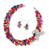 Multi Color Shell, White and Black Austrian Crystal, Chroma Silvertone and Stainless Steel Hummingbird Brooch, Earrings and Necklace (18-20 in)