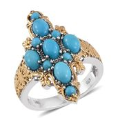 Arizona Sleeping Beauty Turquoise 14K YG and Platinum Over Sterling Silver Elongated Ring (Size 5.0) TGW 3.05 cts.
