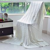 White 100% Acrylic Cable Knit Throw (80x80 in)