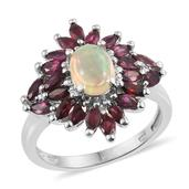 Ethiopian Welo Opal, Anthill Garnet Platinum Over Sterling Silver Ring (Size 6.0) TGW 2.90 cts.
