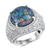 Australian Mosaic Opal, White Topaz Platinum Over Sterling Silver Ring (Size 8.0) TGW 18.480 cts.