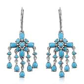 Arizona Sleeping Beauty Turquoise Platinum Over Sterling Silver Lever Back Chandelier Earrings TGW 4.350 Cts.