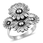 Sterling Silver Floral Ring (Size 10.0)