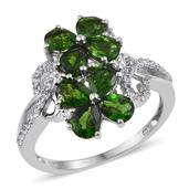 Russian Diopside, White Zircon Platinum Over Sterling Silver Classy Ring (Size 10.0) TGW 2.88 cts.