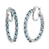 Madagascar Paraiba Apatite Platinum Over Sterling Silver Inside Out Hoop Earrings TGW 7.680 Cts.