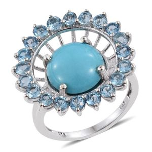 Arizona Sleeping Beauty Turquoise, Electric Blue Topaz Platinum Over Sterling Silver Ring (Size 7.0) TGW 9.700 cts.