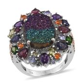Rainbow Drusy Quartz, Multi Gemstone 14K YG and Platinum Over Sterling Silver Statement Ring (Size 6.0) TGW 13.12 cts.