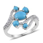 Arizona Sleeping Beauty Turquoise, Thai Black Spinel Platinum Over Sterling Silver Ring (Size 7.0) TGW 2.670 cts.