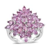 Madagascar Pink Sapphire Platinum Over Sterling Silver Ring (Size 7.0) TGW 5.720 cts.