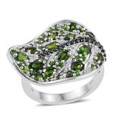Russian Diopside, Thai Black Spinel Platinum Over Sterling Silver Leaf Ring (Size 7.0) TGW 3.90 cts.
