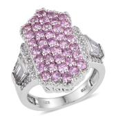 White Topaz, Madagascar Pink Sapphire Platinum Over Sterling Silver Elongated Cluster Ring (Size 7.0) TGW 4.57 cts.
