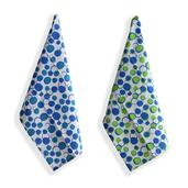 Set of 6 Blue and Green 100% Cotton Bubble Printed Kitchen Towels (24x16 in)