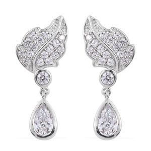 J Francis - Platinum Over Sterling Silver Leaf Dangle Earrings Made with SWAROVSKI ZIRCONIA TGW 4.63 cts.