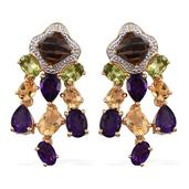 Brazilian Smoky Quartz, Multi Gemstone 14K YG Over Sterling Silver Dangle Earrings TGW 12.67 cts.