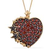 GP Mozambique Garnet, Thai Black Spinel 14K YG Over Sterling Silver Heart Pendant With Chain (20 in) TGW 2.360 Cts.