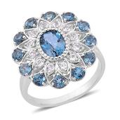 London Blue Topaz, White Topaz Sterling Silver Ring (Size 10.0) TGW 3.550 cts.