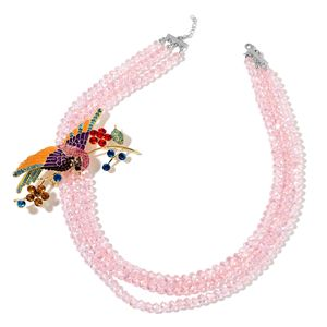 Pink Glass, Multi Color Austrian Crystal, Enameled Silvertone Sparrow Brooch With Multi Strand Bead Necklace (22 in)