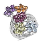 Multi Gemstone Platinum Over Sterling Silver Floral Elongated Bypass Ring (Size 7.0) TGW 6.180 cts.