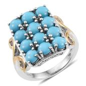Arizona Sleeping Beauty Turquoise 14K YG and Platinum Over Sterling Silver Ring (Size 7.0) TGW 4.550 cts.
