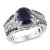 Kanchanaburi Blue Sapphire, White Zircon Platinum Over Sterling Silver Split Ring (Size 7.0) TGW 6.04 cts.