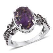 Mojave Purple Turquoise, Brazilian Smoky Quartz Platinum Over Sterling Silver Split Ring (Size 6.0) TGW 6.100 cts.