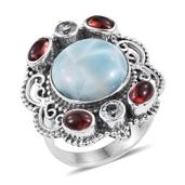 Artisan Crafted Larimar, Sky Blue Topaz, Mozambique Garnet Sterling Silver Statement Ring (Size 10.0) TGW 11.70 cts.